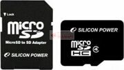Карта памяти Silicon Power MicroSDHC 16GB Class 4 + SD adapter